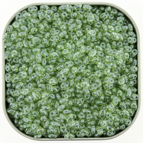 Czech MiniDuo Two-hole Beads 4x2mm Crystal Green Luster 8g - Click Image to Close